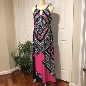 Emma & Michelle Long Maxi Dress Pink Black Large